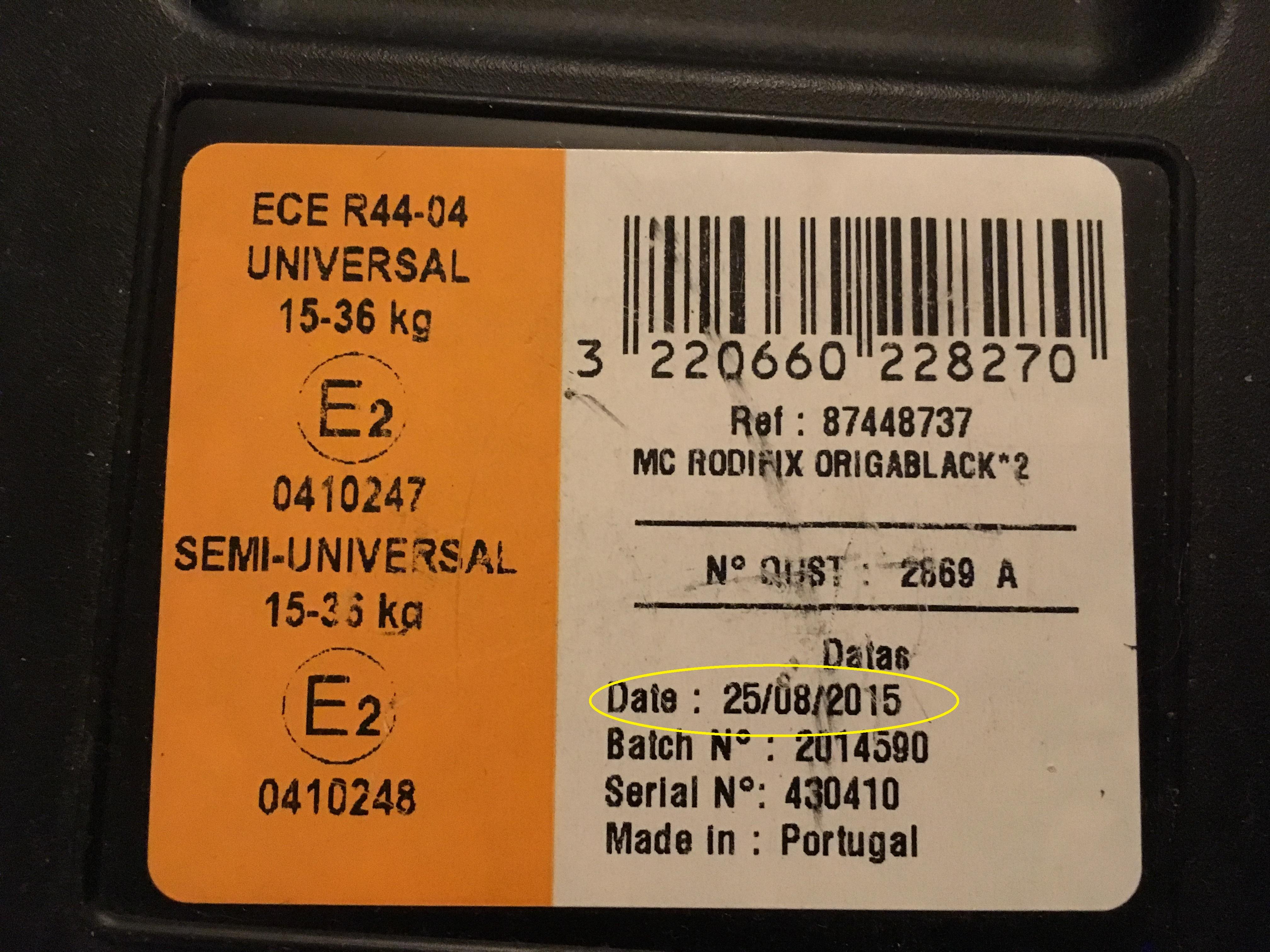 Var sitter tillverkningsdatum på bilstolen? | Dyrbarlast.se